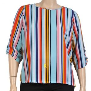 Sunny Leigh Bow Sleeve Striped Blouse